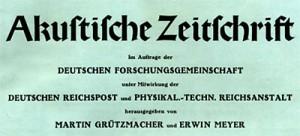Titelblatt Heft 1 Akustische Zeitschrift 1936