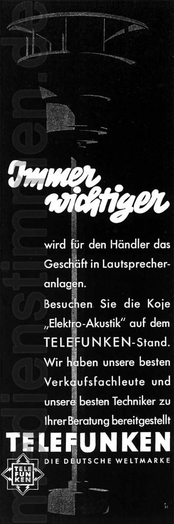 Telefunken-Werbung Elektroakustik 1935