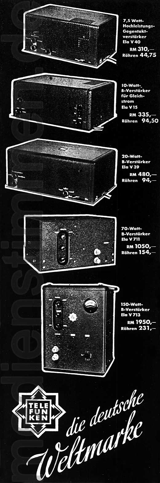 Telefunken-Werbung Elektroakustik 1935, Teil 3
